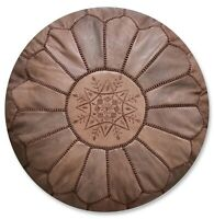 Moroccan Leather Pouf Full Brown - Delivered Stuffed, Ottoman, Footstool