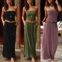 Women Off Shoulder Party Long Dress Lady Summer Bandeau Strapless Maxi Dress US