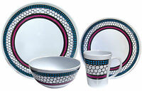Camping Caravan Picnic Travel Melamine 16pc Dining Dinner Set - Honeycomb #80