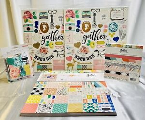 """Crate Paper Maggie Holmes """"Gather"""" Paper Pads & Embellishment Lot-BRAND NEW"""