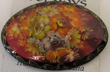 VINTAGE LACQUER WOOD, ARTIST SIGNED, HANDPAINTED FLORAL PIN/BROOCH~RUSSIA~NEW!