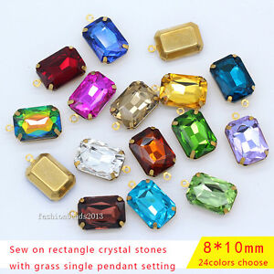 20p 8x10mm rectangle Framed glass Pendant Earring necklace Connector charm beads