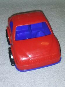 "VINTAGE PLASTIC 6"" RED & BLUE 1960'S PLASTIC CAR"