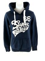 SUPERDRY Womens Hoodie Jumper XS Navy Blue Cotton & Polyester