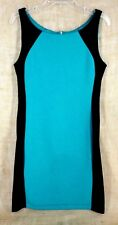 B. SMART WOMEN SHEATH DRESS SLEEVELESS TEAL BLACK STRETCH SIZE 10