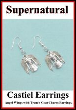 Supernatural Castiel's Angel Wings and Demon Killing Knife Silver Earrings.
