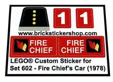 Replica Pre-Cut Sticker for Lego® Classic Town Police set 602 - Fire Chief's Car