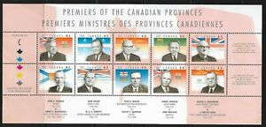 Canada 1998 Premiers of Canada sheet; 10 different. Unitrade 1709a-j MNH