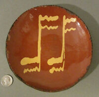 "1985 TURTLE CREEK Redware SHOONER Folk Art Pottery MUSEUM PIECE Slip Plate 6.75"""