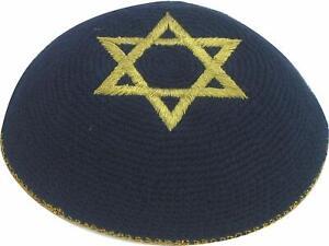 Blue Gold Star Of David Knitted Yarmulke Kippah 16 cm Jewish Kippa Cupples Hat
