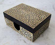 "VINTAGE Duck Egg Shell Inlay Teak Lacquerware Trinket Box 5""x3.5"""