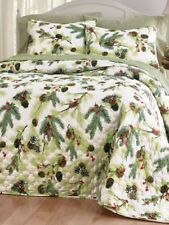Rustic Winter Cabin Brown Pinecones & Red Berries 3Pc Q/K Quilted Bedspread Set