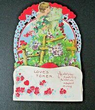 "Antique Victorian ""Love's Token"" Pull Down Valentine Card-Original-Germany"