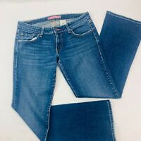 Levis 524 Womens Jeans 11 Blue Too Superlow Boot Stretch Med Wash Distressed
