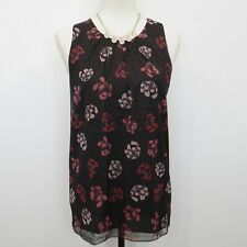 fb065e8c44 Vince Camuto Women's Black Regal Stamp Floral Sleeveless Blouse Top Size L  NWT