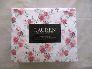 NEW 4pc Ralph Lauren Full Sheet Set French Country Floral Maroon Pinks & Green