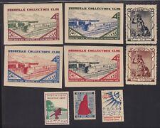US Vintage Mixed lot 9 Cinderella Stamps Zephyr Train, Amer Legion, AZ L419