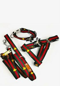 Luxury Designer dog harness Collar with matching leash imprinted with bees Set M