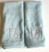 Finger Tip Towels Blue Starfish Embroidered Bathroom Summer Beach House Set of 2