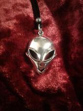 Sterling Silver Alien Pendant - Zeta Reticuli Greys + Fluorite Stone Heart