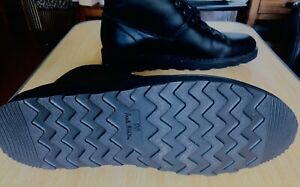 Paul Smith PS Mens Size UK 11  black leather monkey boots with reflective trims