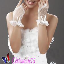 Mitaines gants mariée dentelle strass IVOIRE accessoire mariage cérémonie 5bb82e47507b