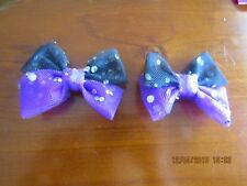 tulle bows black and purple mesh bows lovingly made by me my own design