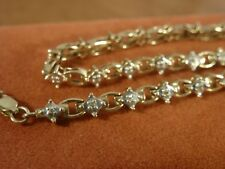 9k 9ct Solid Yellow + White Gold Diamond Bracelet. 4.5mm, 18.5cm 5.47g