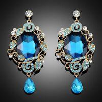 Vintage Retro Bue crystal Antique Boho Wedding Party Women Dangle Drop Earring