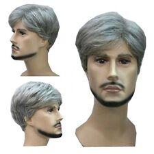 Men's Hair Full Wig Fashion Grey Mixed Short Long Curly Men Natural Cosplay