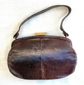 Vintage Brown Leather Lizard Skin Purse/Hand Bag - Unmarked