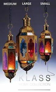 MOROCCAN  MULTI COLOURED HANGING GLASS LANTERN TEA LIGHT CANDLE HOLDER HOME GIFT