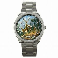 Whitetail Deer Buck Doe Forest Wildlife Mural Stainless Steel Sport Watch New!