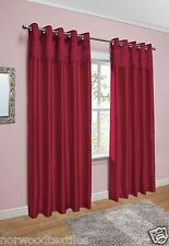Crushed Velvet Band Curtains Faux Silk Eyelet Ring Top Lined Ready Made Pair