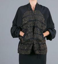 Ann Demeulemeester Jacket Evergreen Zip Front Top Black SIlk Bronze NWT $2430 36