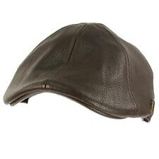 Men's Winter Fall Faux Leather Duckbill Ivy Driver Cabbie Cap Hat Brown S/M 56cm