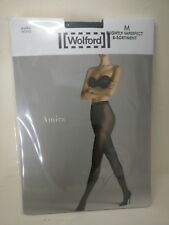 Wolford Amira Tights Size M Graphite Black Seconds Textured Quality Comfort