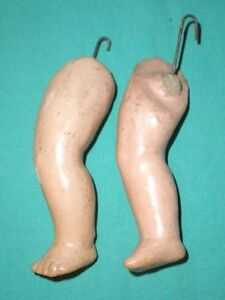 "Antique doll legs for a compostion body, 7.5"", replacement, marked ""19"""