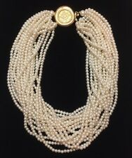 Vintage Carolee Faux Pearl Double Multi Strand Choker Necklace Signed Runway