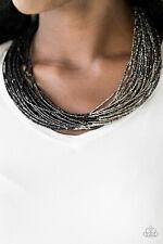 Paparazzi Jewelry gunmetal & black seed beads Necklace w/ Earrings Nwt