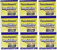 FLEISCHMANN'S RAPID RISE INSTANT YEAST - FAST ACTING- 3 STRIPS =9 PACKETS 1/4 oz