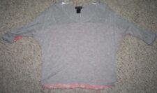 Extra Small XS Wet Seal Gray Orange Rayon Crewneck Rayon Tee T-Shirt 3/4 Sleeve
