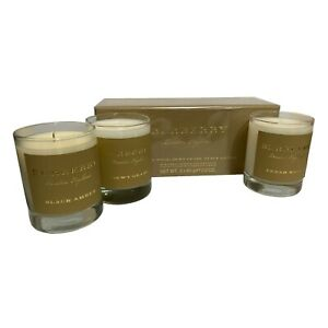 Burberry Scented Candle Collection 3x 65g Cedar Wood Dewy Grass Black Amber
