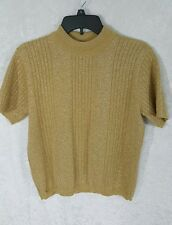 Norton McNaughton Gold Glitter Sweater Blouse Shimmery Knit Top Size M T1