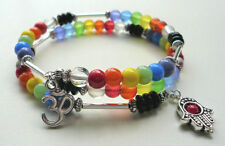 Chakra Style Coloured Glass Bead and Silver Memory Wire Wrap Bracelet  KCJ2103