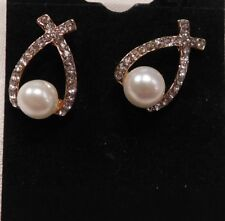 Earrings 9K Rose Gold Filled CZ Looped with Faux Pearl