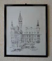 lithographie signée avec dédicace - Lille - la grand place