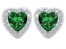 Ohrstecker Ohrring Herz mit grünem Zirkonia