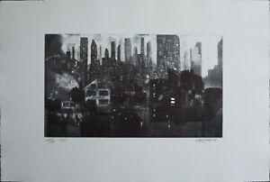 RENZO VESPIGNANI acquaforte New York 1994 60x40 firmata numerata 25/30 pa