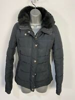 WOMENS NEW LOOK SIZE UK 8 BLACK CASUAL FAUX FUR COLLAR PADDED WINTER COAT JACKET